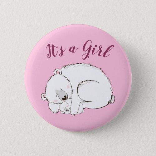 Polar Bear Baby Shower Pink Its a Girl Button