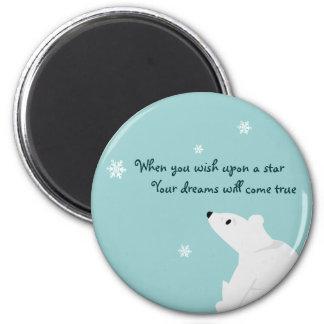 Polar Bear (baby), Snowflake, Snowflake, Snowfl... 2 Inch Round Magnet