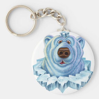 polar bear basic round button keychain