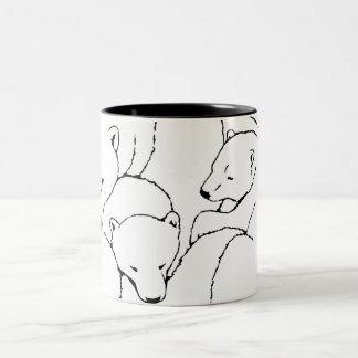 Polar Bear Beer Mug Glass Mother & Cubs Bear Mug