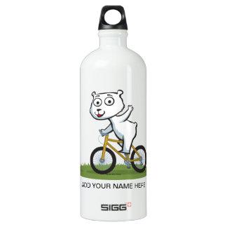 Polar Bear Biker Aluminum Water Bottle