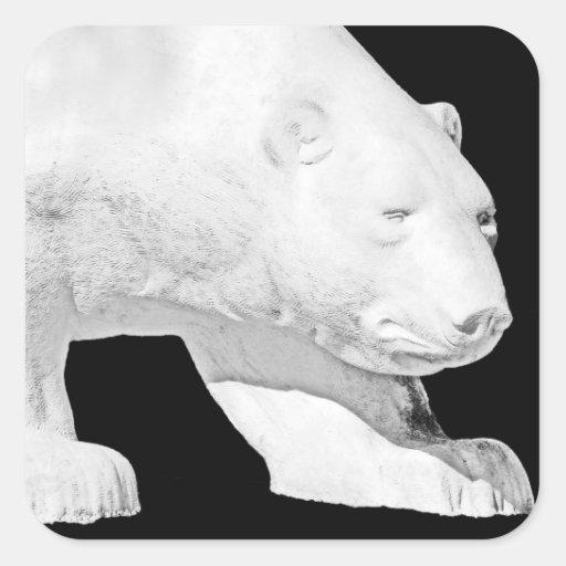 Polar Bear, Black Background (5) Square Sticker