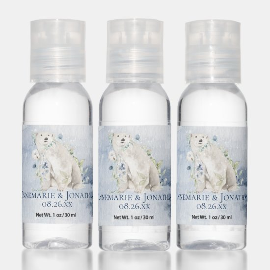 Polar Bear Blue and White Flowers Wedding Favors Hand Sanitizer