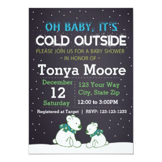 Polar Bear Blue Baby Shower Invitation
