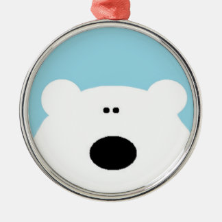 Polar Bear Blue Metal Ornament