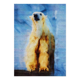 POLAR BEAR BLUE ORIGINAL ART Photo Manipulation Poster