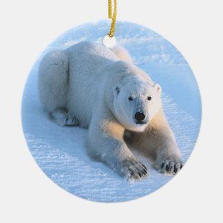 Polar Bear Blue Double-Sided Ceramic Round Christmas Ornament