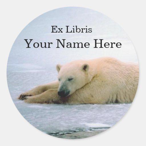 Polar Bear Bookplate Sticker Round Sticker