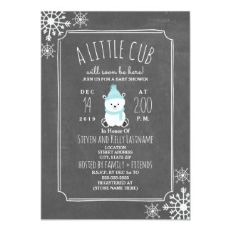 Polar Bear Boy Winter Baby Shower Inivtation Card