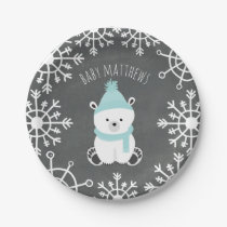 Polar Bear Boy Winter Baby Shower Paper Plate