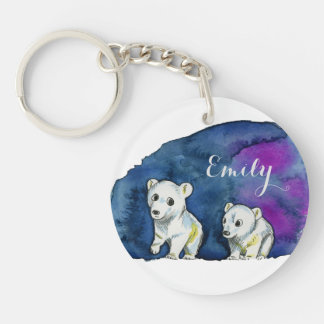 Polar Bear Brothers Watercolor Painting Keychain