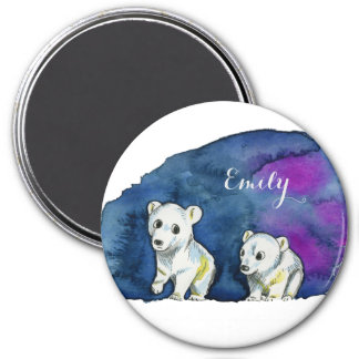 Polar Bear Brothers Watercolor Painting Magnet