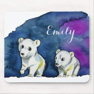 Polar Bear Brothers Watercolor Painting Mouse Pad