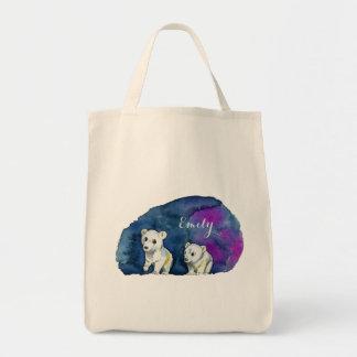 Polar Bear Brothers Watercolor Painting Tote Bag