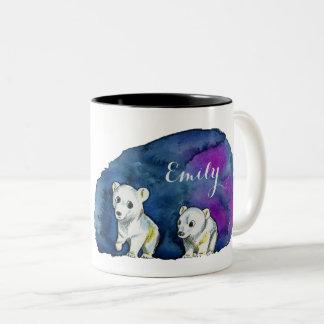 Polar Bear Brothers Watercolor Painting Two-Tone Coffee Mug