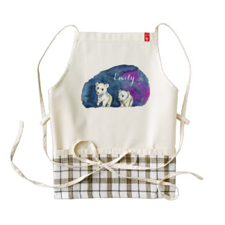 Polar Bear Brothers Watercolor Painting Zazzle HEART Apron