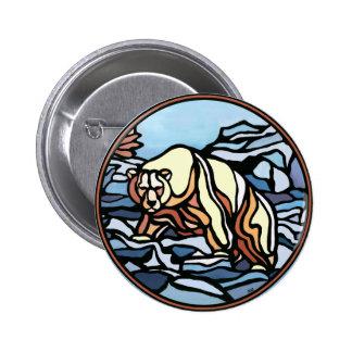 Polar Bear Button Native  Wildlife Art Button
