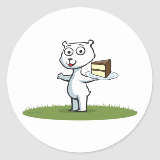 Polar Bear Cake Round Stickers