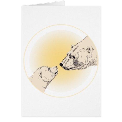 Polar Bear Card Bear & Cub Cards Wildlife Art Card