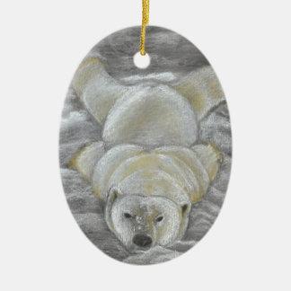 Polar Bear Chalk Drawing Ceramic Ornament
