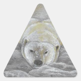 Polar Bear Chalk Drawing Triangle Sticker