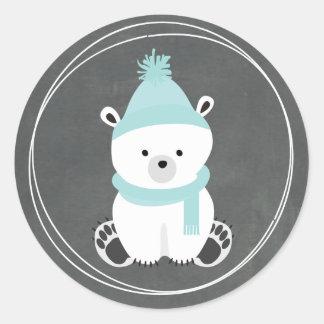 Polar Bear Chalkboard Inspired Blue Baby Shower Classic Round Sticker