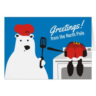 polar bear chef cooking santa Christmas humor Card