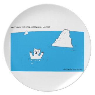 Polar bear chemistry joke dinner plate