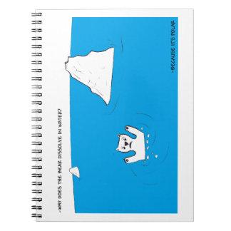 Polar bear chemistry joke spiral notebooks