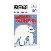 Polar Bear Christmas blue Stamp