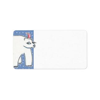 Polar Bear Christmas blue white Gift Tag Address Label