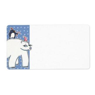 Polar Bear Christmas blue white Gift Tag Label