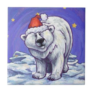 Polar Bear Christmas Ceramic Tile