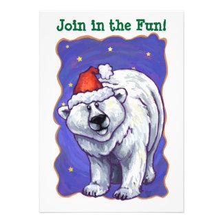 Polar Bear Christmas Personalized Invitations