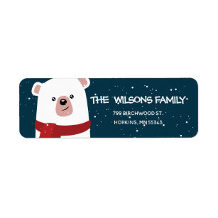 polar bear christmas new years personalized label