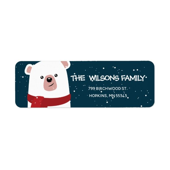 Polar Bear Christmas New Year's Personalized Label