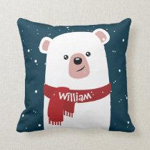 Fun Whimsical Pillow Holiday Decor Stuffed Animal Pillow Winter Seasonal Throw Pillow Gray Vanilla Maroon Pillow Polar Bear Pillow Cover