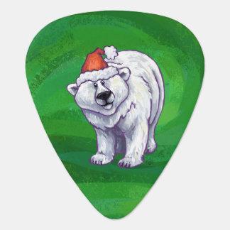 Polar Bear Christmas On Green Guitar Pick