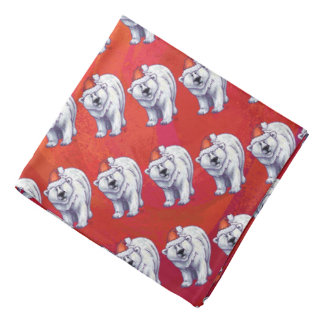 Polar Bear Christmas On Red Bandana