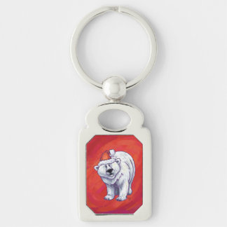 Polar Bear Christmas On Red Keychain