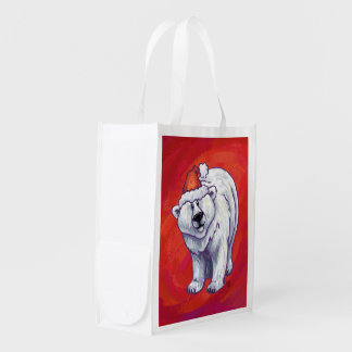 Polar Bear Christmas On Red Reusable Grocery Bag