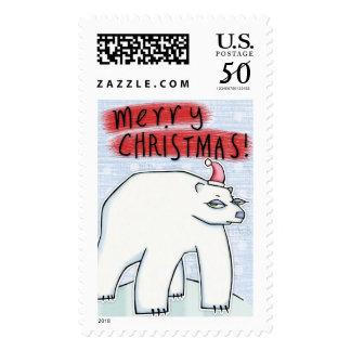 Polar Bear Christmas snow Stamp