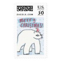 Polar Bear Christmas white Stamp