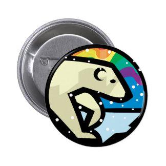 polar bear circle design pinback button