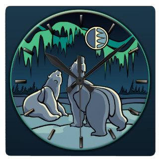 Polar Bear Clock Cool Native Bear Art Wall Clock