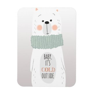 Polar bear - Cold outside - Fun Christmas Magnet