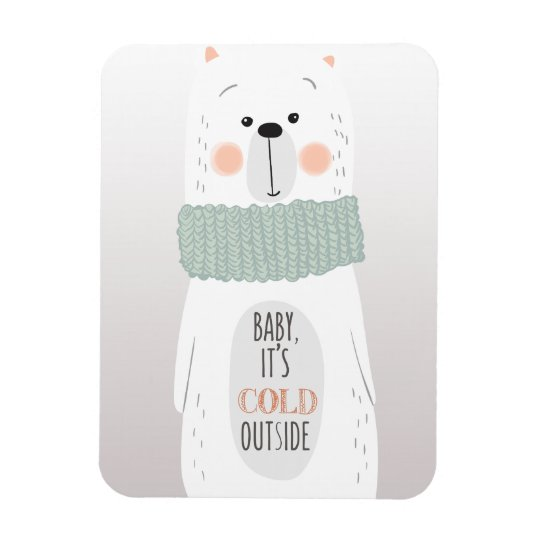 Polar bear - Cold outside - Fun Christmas Magnet