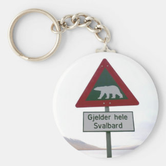 Polar bear crossing sign in Svalbard Keychain