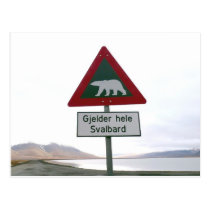 Polar bear crossing traffic sign postcard