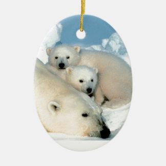 Polar bear cub 1 Double-Sided oval ceramic christmas ornament